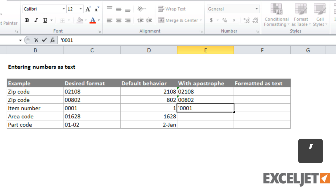 Excel tutorial: How to enter numbers as text in Excel