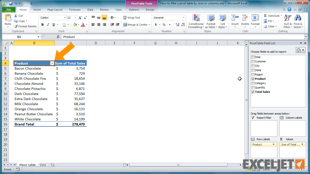 How to Add Filter to Pivot Table