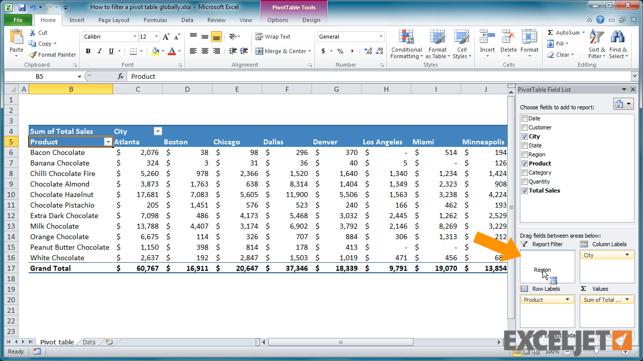 High Quality From The Video: How To Filter A Pivot Table Globally