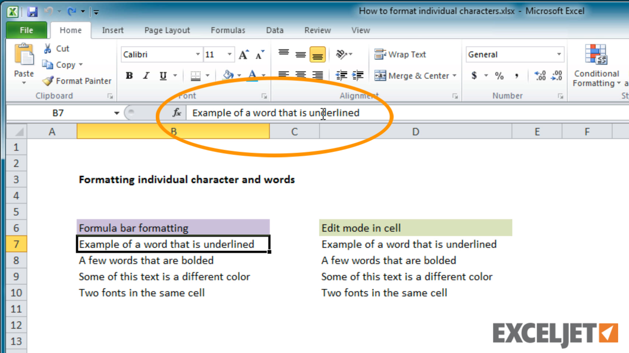 Excel Tutorial How To Format Individual Characters In Excel