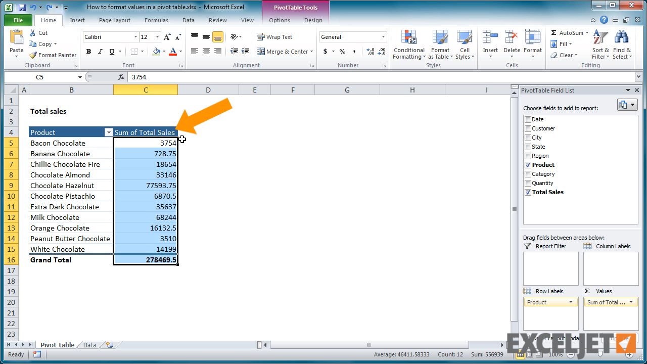 From The Video: How To Format Numbers In A Pivot Table