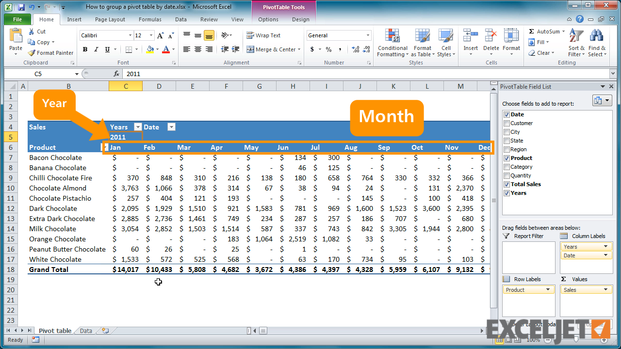 excel tutorial how to group a pivot table by date
