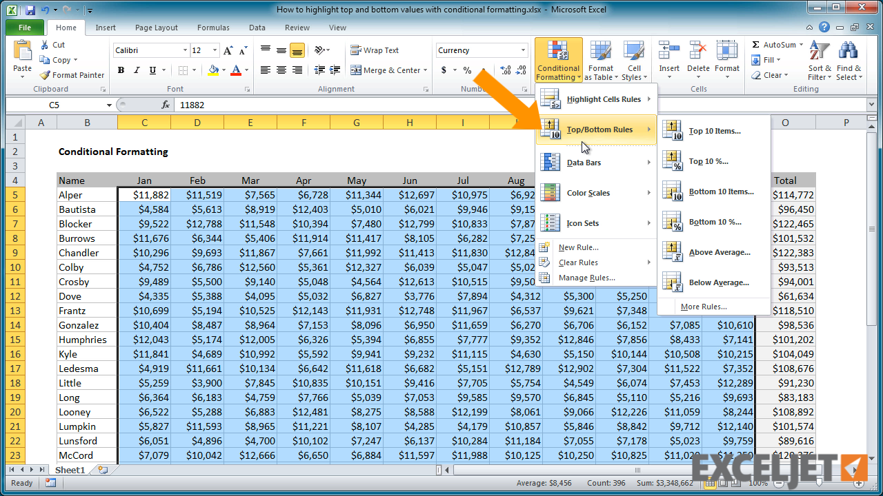 excel tutorial how to highlight top and bottom values from the video how to highlight top and bottom values