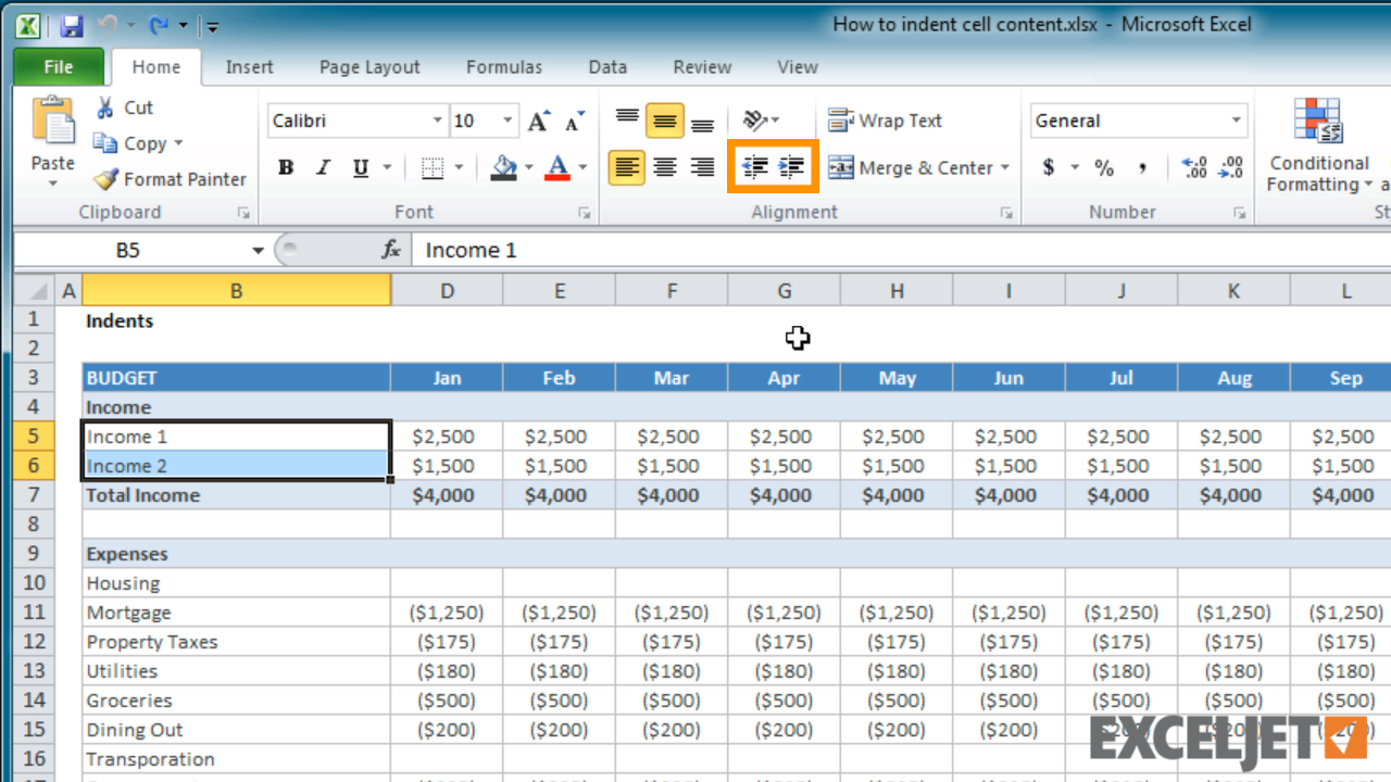 From the video: How to indent cell content in Excel