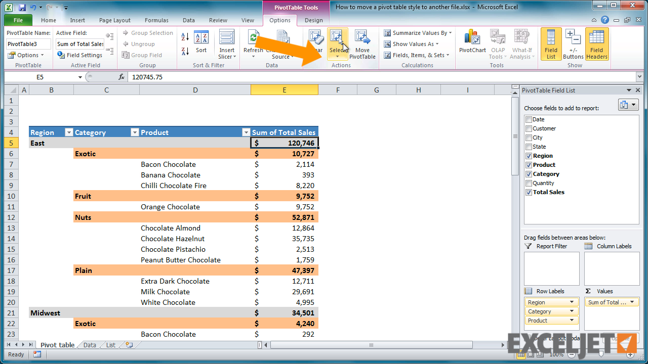 Excel tutorial how to move a pivot table style to another for Table design tab excel