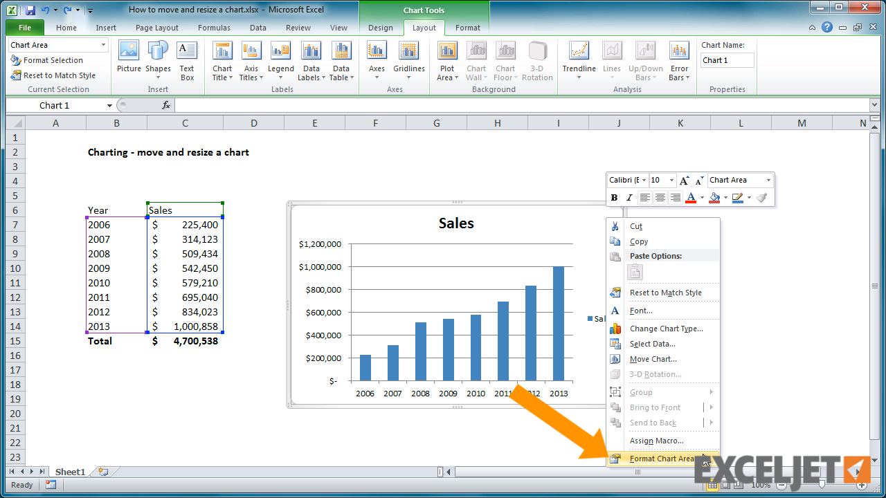 Excel tutorial: How to move and resize a chart in Excel