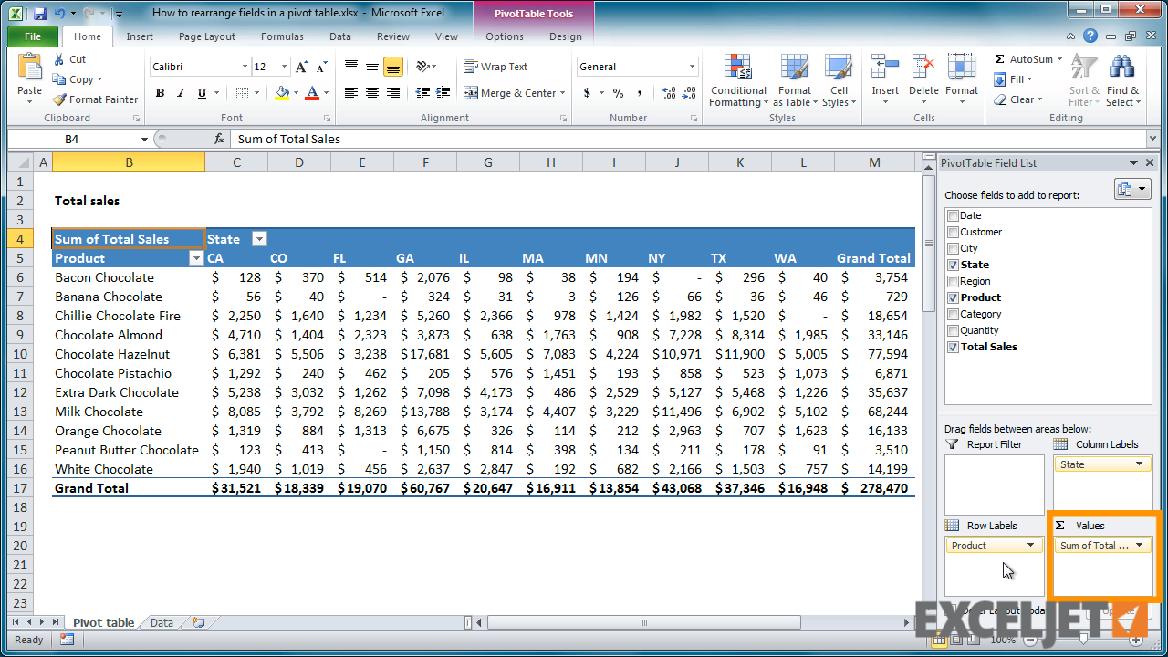 excel tutorial how to rearrange fields in a pivot table