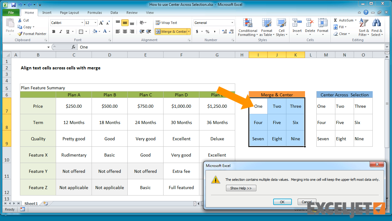 Excel Tutorial How To Use Center Across Selection In Excel