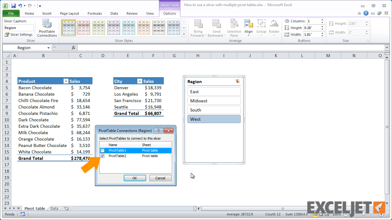 Excel tutorial How to use a slicer with multiple pivot tables – Multiple Pivot Tables on One Worksheet
