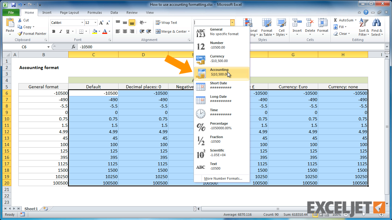 Excel Tutorial How To Use Accounting Formatting In Excel
