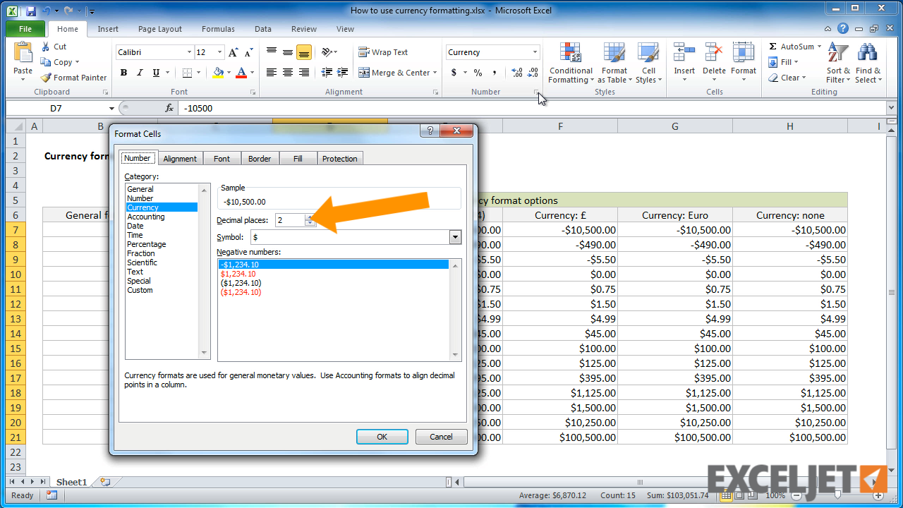 Excel tutorial how to use currency formatting in excel from the video how to use currency formatting in excel buycottarizona