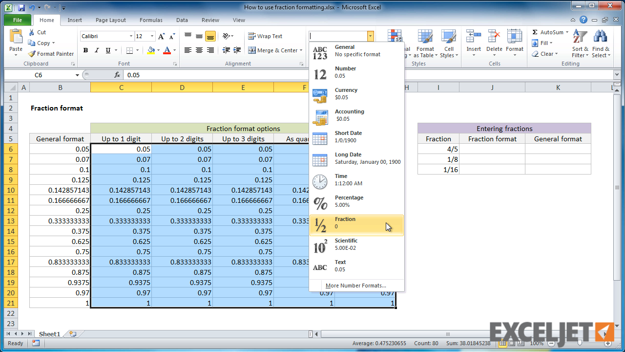 From the video: How to use fraction formatting in Excel