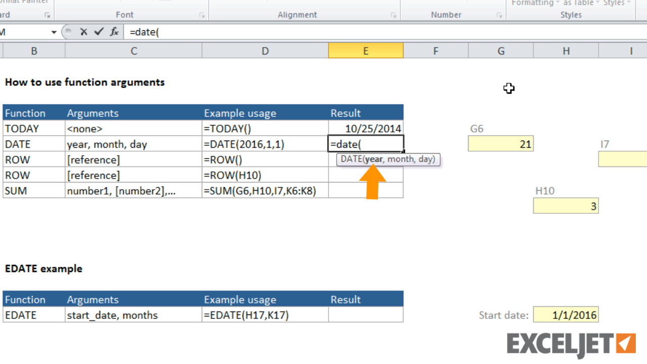 Excel tutorial: How to use function arguments