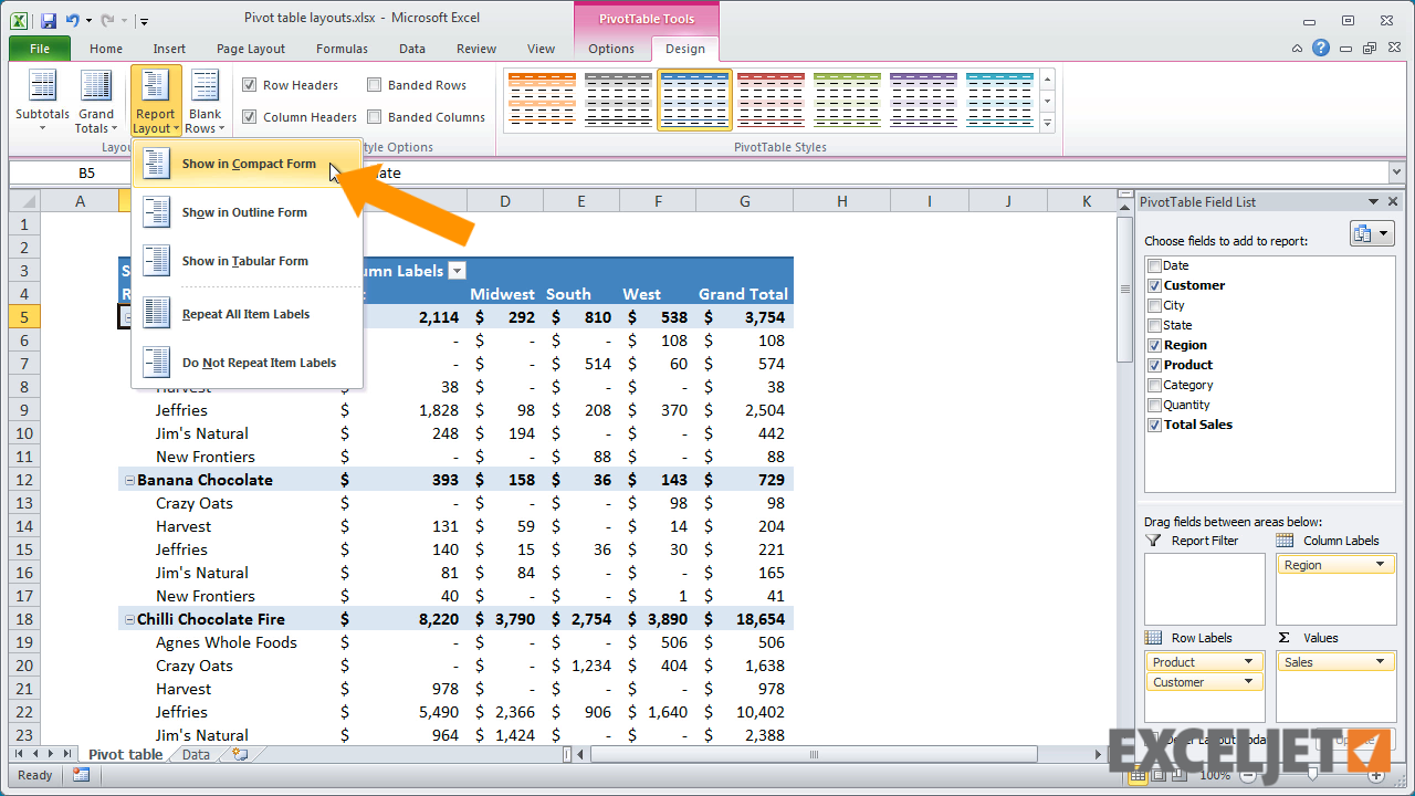 Excel tutorial how to use pivot table layouts for Table design tab excel
