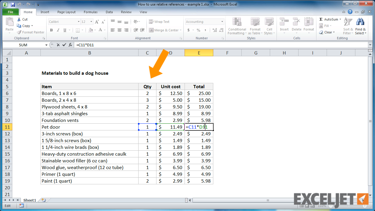 excel tutorial how to use relative references example 1 from the video how to use relative references example 1