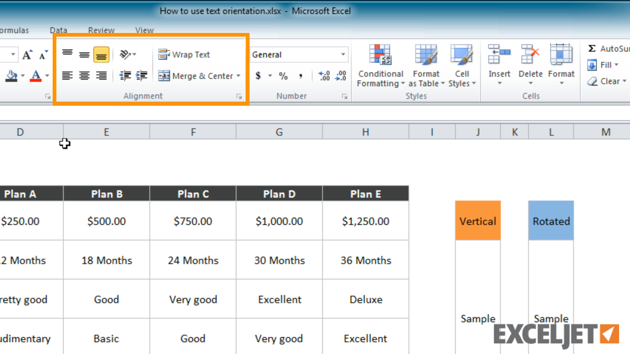degrees in excel  Excel tutorial: How to use text orientation in Excel