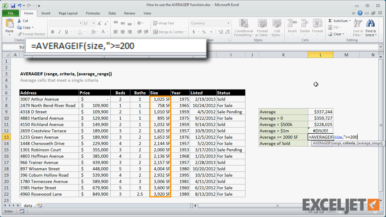 excel tutorial how to use the averageif function