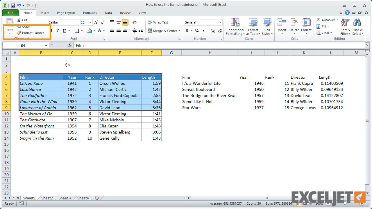 Excel Tutorial How To Use The Format Painter