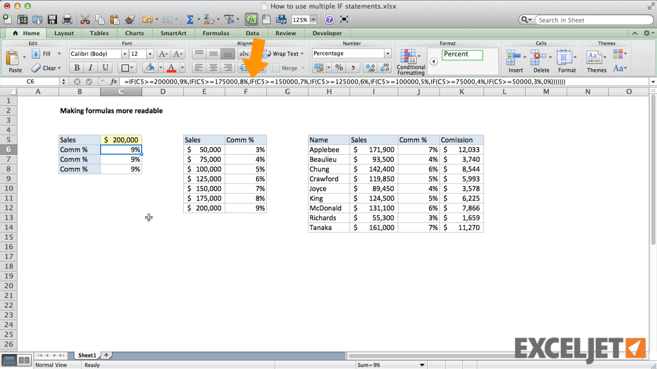 Excel tutorial: How to make a nested IF formula easier to read