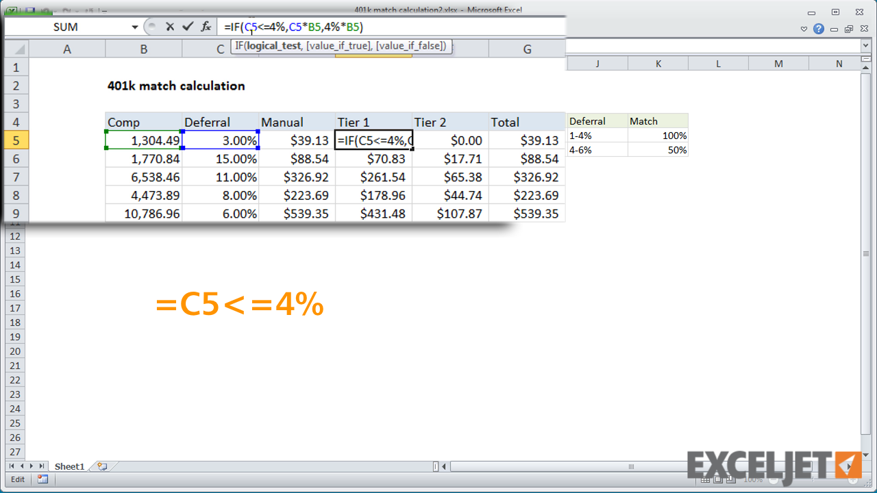 excel tutorial simplified formula example 401k match