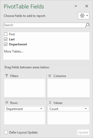 Pivot table count blanks field list
