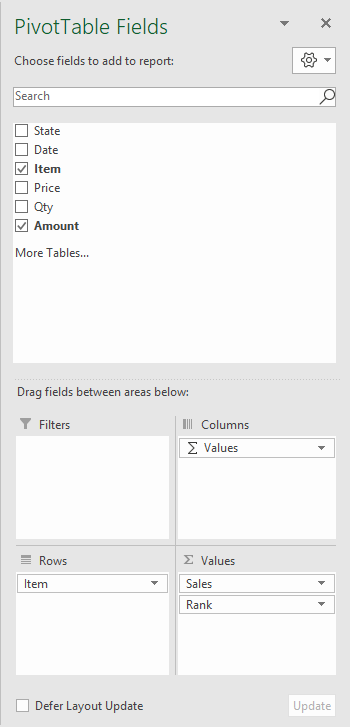 Pivot table rank example field configuration
