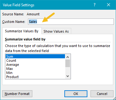 Pivot table rank example sales field settings