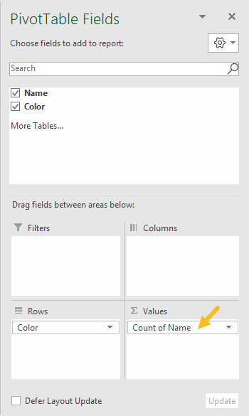 Pivot table basic count field configuration