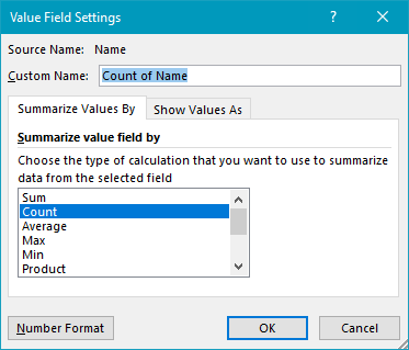 Pivot table basic count value field settings