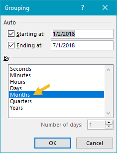 Pivot table count by month date grouping configuration