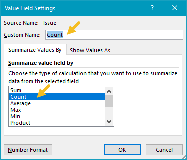 "Value field settings - Issue renamed to ""Count"""