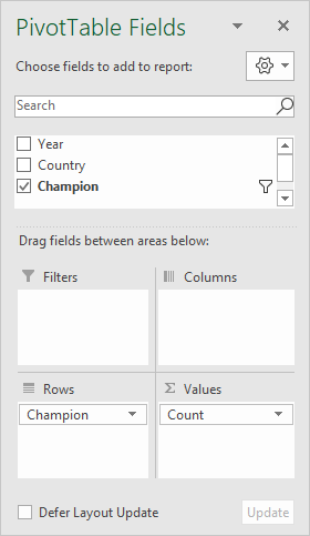 Pivot table field list - only Champion is used