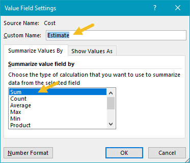 "Cost value settings, renamed ""Estimate"""