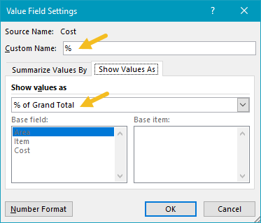"Cost value settings for percentage, renamed ""%"""