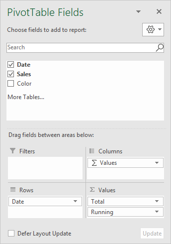 Field list for running total pivot table