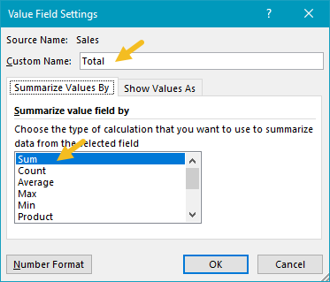 Total field settings