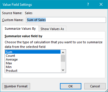 Pivot table year over year comparison sales field settings