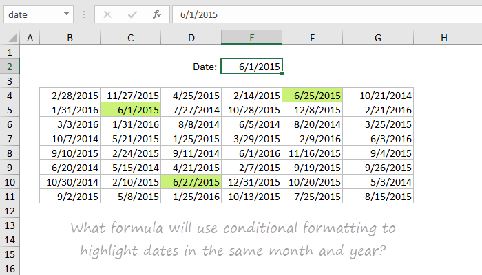 Highlight dates in the same month and year | Exceljet Puzzle