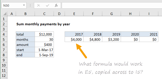 What formula works in E5, copied across to I5?