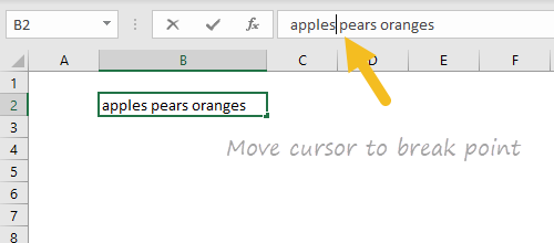 Move cursor to break point