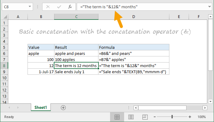 Examples of concatenation formulas in Excel