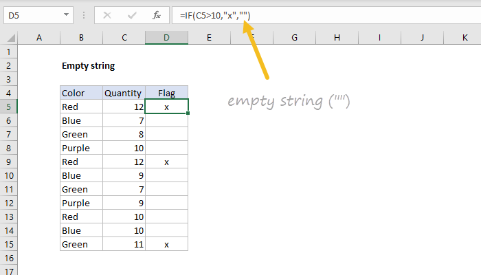 Empty string in Excel formula