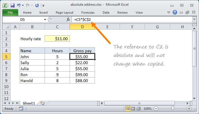 Example of Absolute Reference in Excel