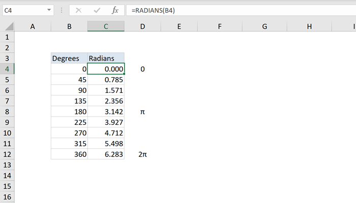 Excel use of Radians