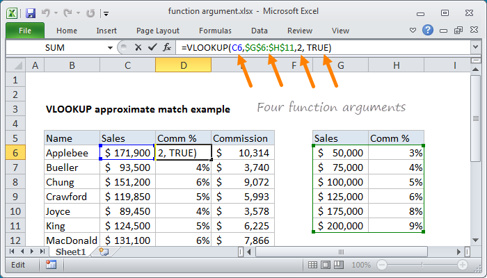 Excel function argument example