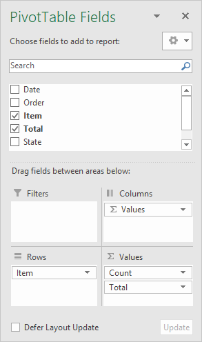 Excel Pivot Table builder interface
