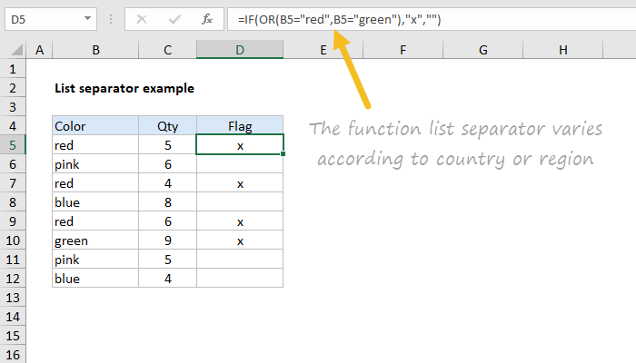 Excel function list separator varies by region