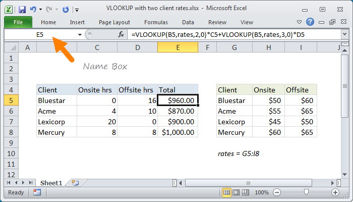 Excel Name Box | Exceljet