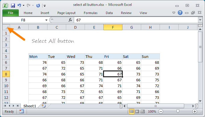 Excel Select All button at upper left of all worksheets