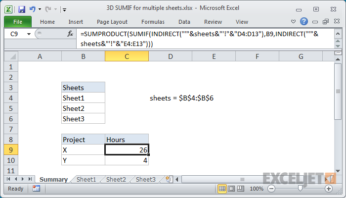 Excel formula: 3D SUMIF for multiple worksheets | Exceljet